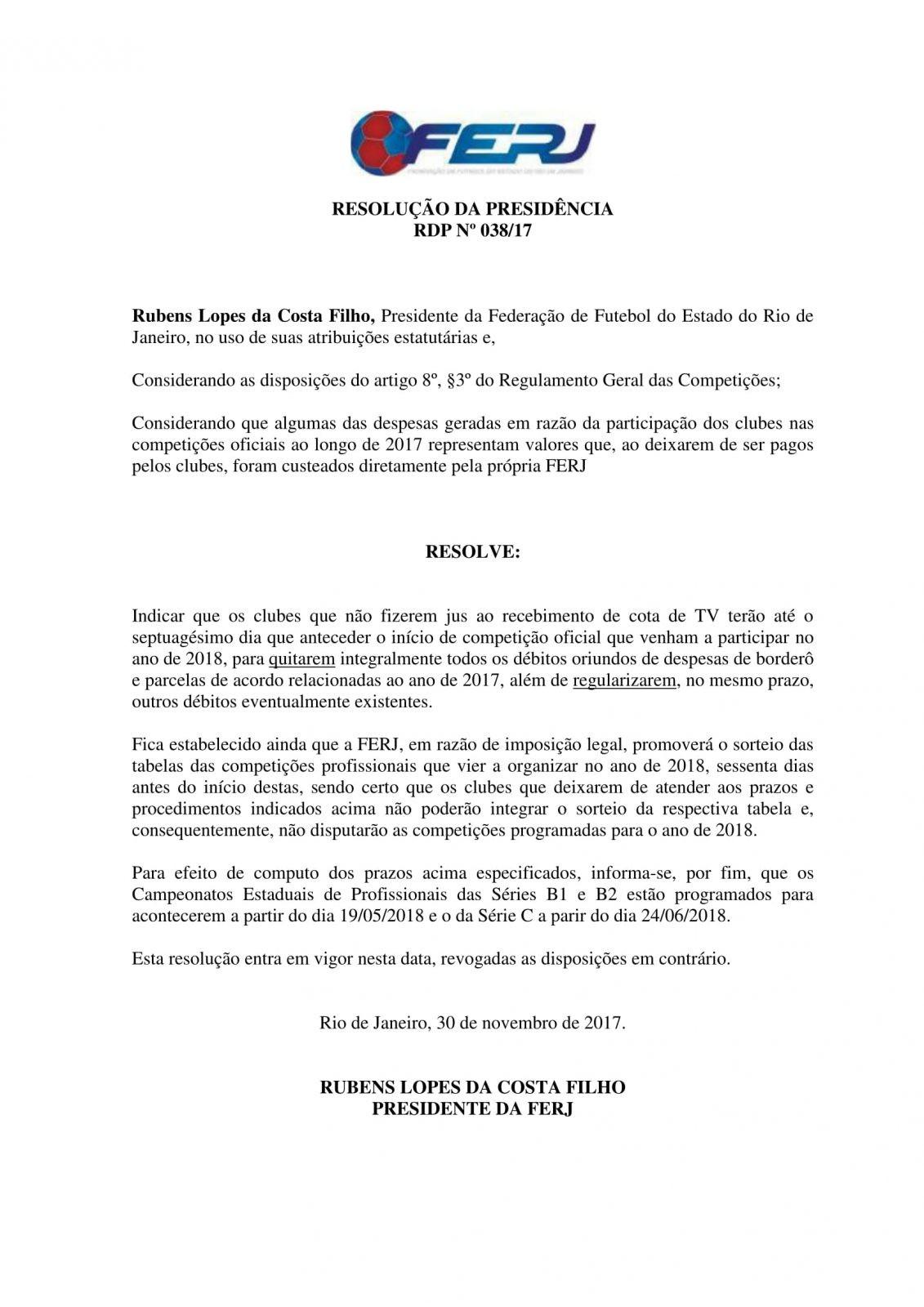 Resolu+â-º+â-úo da Presid+â-¬ncia n. 038_2017 - Quita+â-º+â-úo e Regulariza+â-º+â-úo de D+â-®bitos para Disputa dos Campeonatos de 2018-1